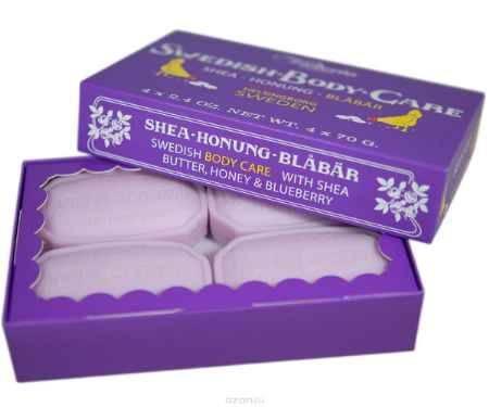 Купить Victoria Soap Shea-Honung-Blabar Мыло для тела с черникой, 4х70 г