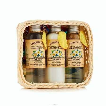 Купить OrganicTai (НАБОР) Натуральный шампунь для волос «ФРАНЖИПАНИ» 120 мл, Натуральный бальзам-кондиционер «ФРАНЖИПАНИ» 120 мл, Натуральный гель для душа «ФРАНЖИПАНИ», 120 мл(120 мл*3)
