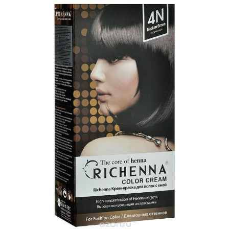 Купить Richenna Крем-краска для волос, с хной, оттенок 4N Коричневый
