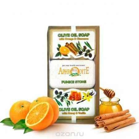 Купить Aphrodite Мыло оливковое в наборе с пемзой (с маслом апельсина и корицы & с медом), 260 г