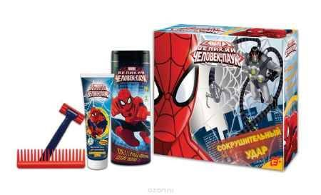 Купить Spider-Man Подарочный набор детский Сокрушительный удар: шампунь 250 мл + гель для умывания 100 мл + игрушечный бритвенный станок + расческа