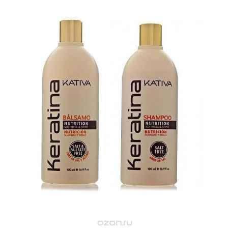 Купить Kativa Набор: укрепляющий шампунь и конциционер с кератином 2х100мл KERATINA