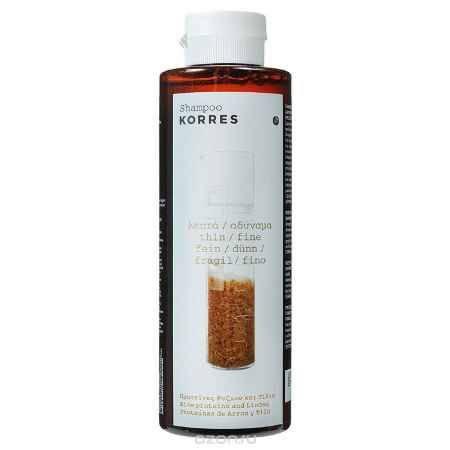 Купить Korres Шампунь для тонких и ломких волос, с протеинами риса и липой, 250 мл