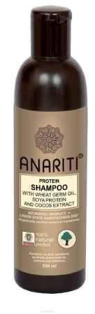 Купить Anariti шампунь протеиновый с маслом зародышей пшеницы, протеинами сои и экстрактом кокоса, 250 г