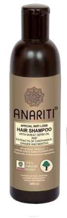 Купить Anariti шампунь специальный против выпадения волос с маслом зародышей пшеницы и экстрактами дикого шафрана, имбиря и мяты,250 г