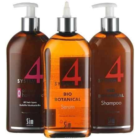 Купить SIM SENSITIVE МАКСИ Комплекс от выпадения волос SYSTEM 4 : Био Ботанический шампунь SYSTEM 4 (500мл), Био Ботаническую сыворотку SYSTEM 4 (500мл), Терапевт. маска