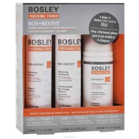 Купить Bosley Набор для истонченных и окрашенных волос: шампунь, кондиционер, несмываемый уход