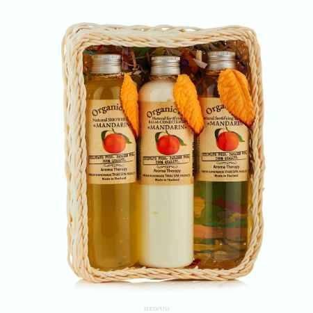 Купить OrganicTai (НАБОР) Натуральный шампунь для волос «МАНДАРИН» 260 мл, Натуральный бальзам-кондиционер «МАНДАРИН» 260 мл, Натуральный гель для душа «МАНДАРИН», 260 мл (260 мл*3)