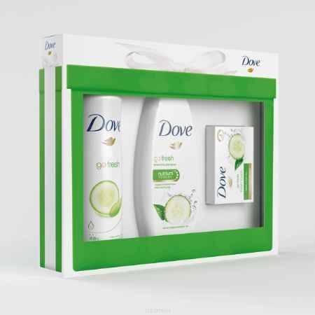Купить Dove Подарочный набор Прикосновение свежести: Крем-гель 250мл + Дезодорант 150мл + Крем-мыло 135г