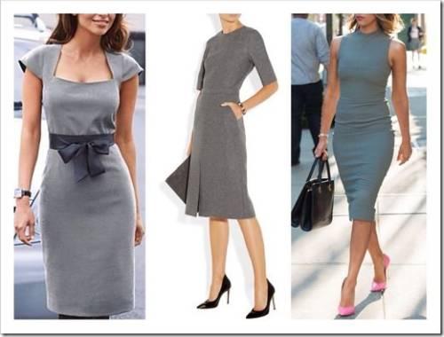 Современное серое платье для офиса или отдыха