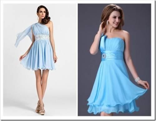 Создание образа с помощью голубых платьев