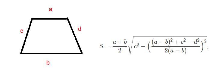 Формула расчета площади трапеции по сторонам