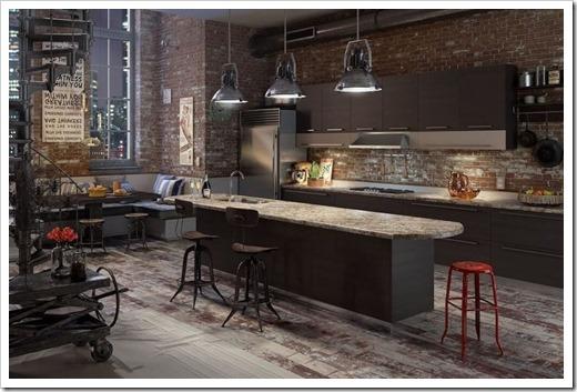 Освещение на кухне в стиле лофт