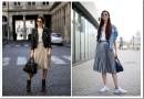 С чем носить плиссированную юбку средней длины